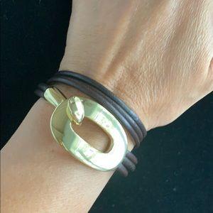 Leather gold wraparound bracelet